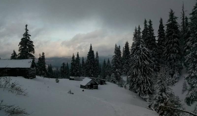 Избушка в зимних Карпатах