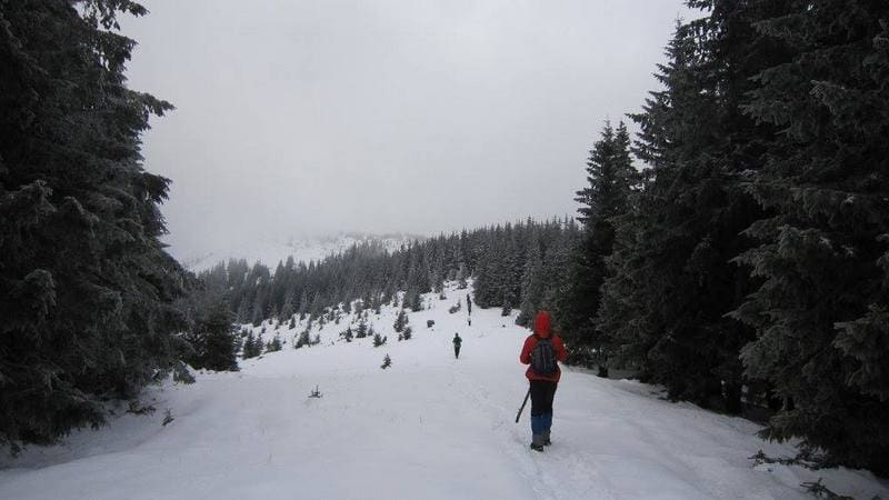 Туристка в зимних Картатах